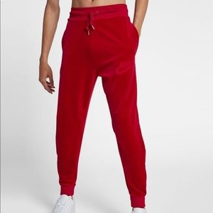 | Nike | gym red velour joggers